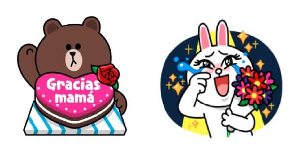 Así lucen algunos de los stickers por el Día de la Madre en Line.