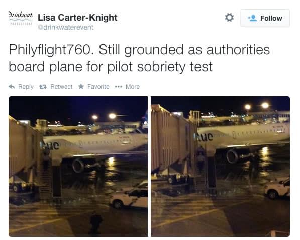 Uno de los tweets de Lisa relatando lo que sucedía con el piloto de JetBlue.