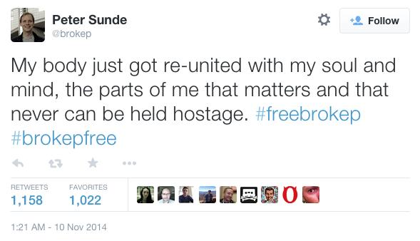 Peter Sunde comentado su salida de la prisión por Twitter.