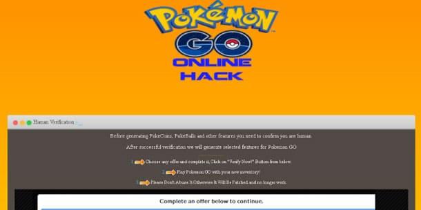 Así luce uno de los sitios fraudulentos en torno a Pokémon Go.