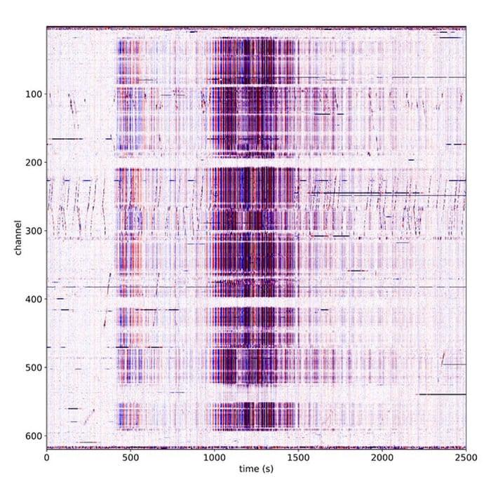 Esta fue la información recogida por el sismógrafo de fibra óptica para el terremoto de México.